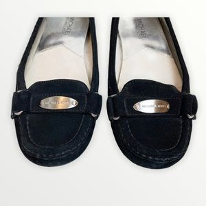 MICHAEL Kors Black Suede Loafers Silver Logo Flats